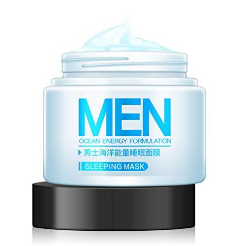 Sweepingy Máscara de Dormir para Hombre, Crema para el Cuidado de la Piel, sin Lavado, hidratante, para la Noche, Color Crema y Azul