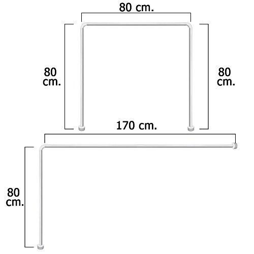Maurer 4042202 - Barra para cortina ducha, Universal, Aluminio, Blanco 80 x...