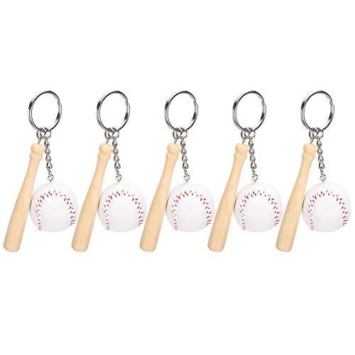 5Pcs Neuheit Baseballschläger Set Anhänger Schlüsselbund Schlüsselring Simulation Baseball Holzschläger hängen Dekoration