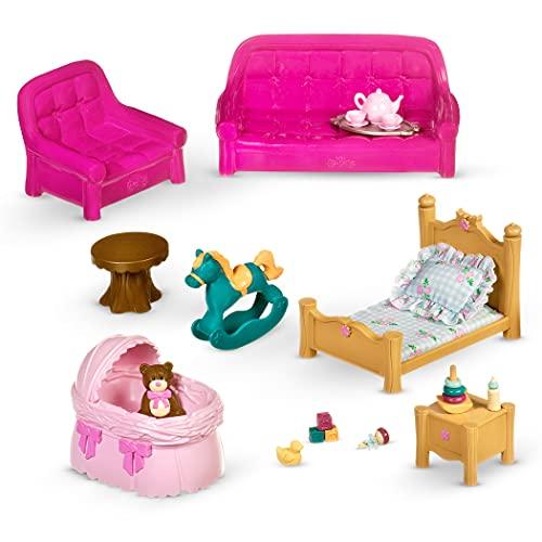 Li'l Woodzeez 23-teilig Wohnzimmer Schlafzimmer Zubehör Set – Sofas, Babybett und mehr – Tierfiguren Accessoire Spielzeug für Kinder ab 3 Jahren