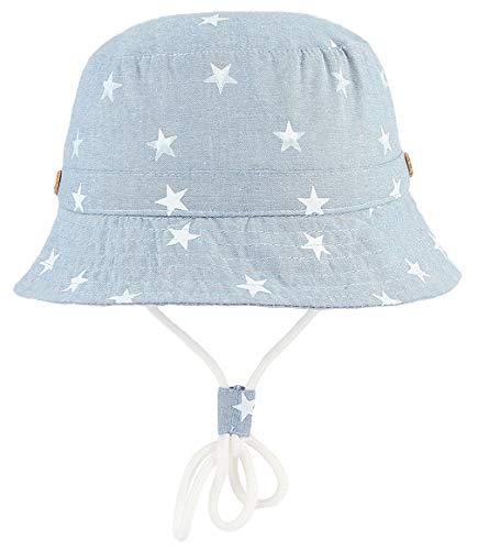 GEMVIE Niños Sombrero Pescador de Bebé Sol Protección Algódon Unisexo Gorro Ajustable Plegable Estapado Estrella Verano UV Hat Niña (Azul Claro, 1-2años)