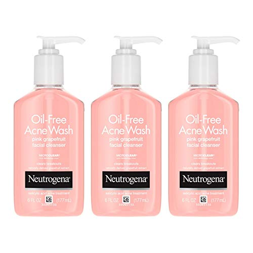 Neutrogena Oil-Free Pink Grapefruit Pore Cleansing Acne Wash and Daily Liquid Facial Cleanser with 2% Salicylic Acid Acne Medicine and Vitamin C, 6 fl. oz (Pack of 3)