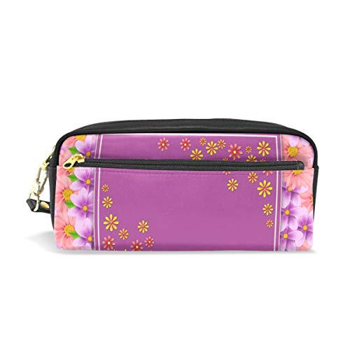 Pencil Case Stylish Print Flower Ornament Floral Texture Art Pattern Large Capacity Pen Bag Makeup Pouch Durable Students Stationery Two Pockets with Double Zipper