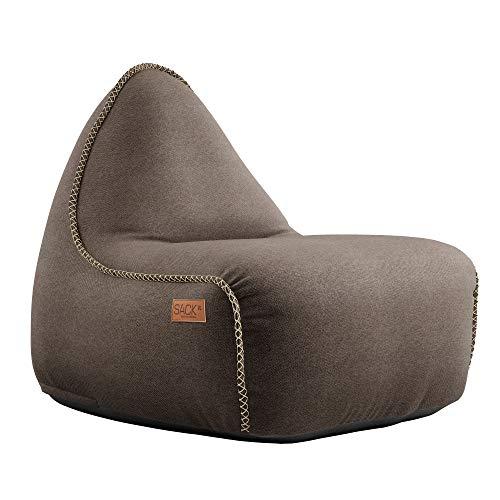 SACKit - RETROit Canvas - Indoor Sitzsack mit Lehne und Füllung mit EPS Kugeln für eine optimalen Sitzkomfort - Großer Sitzsacke für Erwachsene (Dark Brown)