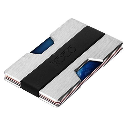 ROCO Minimalist Aluminum Slim Wallet RFID BLOCKING Money Clip - No.2 (Silver)