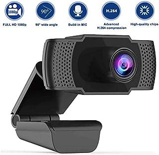 Cámara Web Full HD 1080P con micrófono, computadora portátil PC Webcam de Escritorio USB 2.0 Webcam para videollamadas, Estudios, conferencias, grabación, Juegos con Clip Giratorio