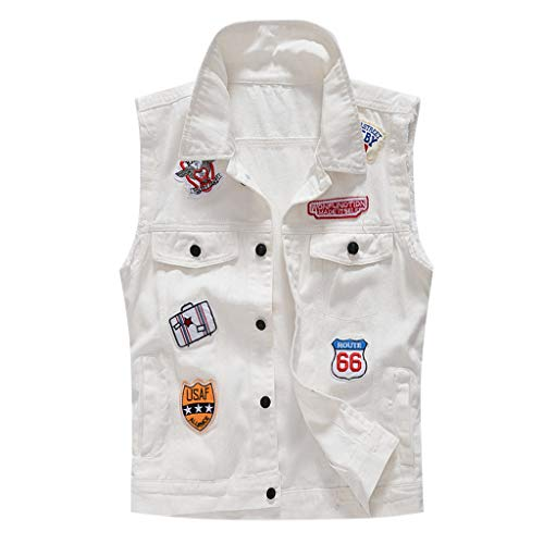 Allywit-Mens Fit Retro Motorcycle Denim White Vest Sleeveless Jean Vest and Jacket Plus Size