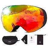 FREE SOLDIER Gafas Esqui para Hombres y Mujeres Gafas Snowboard Antivaho OTG con Lentes Extraíbles Gafas de Esqui sin Marco Magnéticas de Invierno con Protección 100% UV400(Rojo-23% VLT)