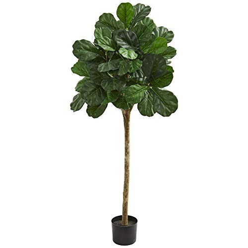 Nearly Natural 5' Fiddle Leaf Fig Artificial Silk Trees Green