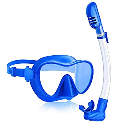 Rodicoco Snorkel Set Frameless Snorkel Goggles Foldable Snorkel Gear Detachable Snorkel Mask with 180° Panoramic View and Tempered Glass for Swimming Scuba Diving Snorkeling(Light Blue, Adults)