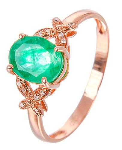 AtHomeShop 18K Rose Gold Rings for Women, Green Emerald Solitaire Ring, Elegant Trust Ring, Women's Rings Butterfly, Shiny Polished, Real Gold Jewellery with Jewellery Box for Wedding Red gold green