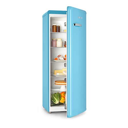 Klarstein Irene XL - Frigorífico, Volumen de 242 Litros, Temperatura regulable no gradual de 0 a 10 °C, 5 estantes, Cajón para verduras, 6 estantes en la puerta, Pies de altura regulable, Azul