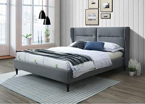 The Almond Grey by Cadar | Upholstered in Grey Fabric | Platform Bed | Padded Headboard | Elegant Finish | Wooden Mattress Supports | Malaysian Wood Bed Frame | Nordic Design | 160 x 200 cm