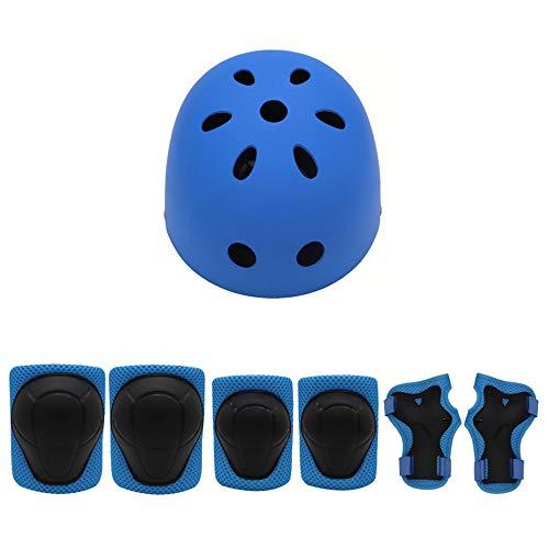 AJAC Kinder Outdoor-Sport Helm Schutzausrüstung, Knieschützer Ellenbogen 7 Sätze Von Balance Rad Rutschschutz Skateboard Jungen Und Mädchen Gelten,Blau