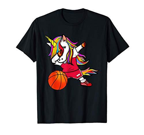 Funny Dabbing Unicorn かわいいダビングユニコーン ポーランド バスケット ボール ポーランドの旗 Tシャツ