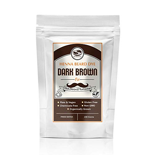 Dark Brown Henna Beard & Hair Dye for Men-100% Chemical Free & Natural for Hair, Beard, Mustache- 2 Step Process (150 Grams, Dark Brown)