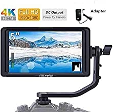 FEELWORLD F5 5 Inch Camera Field Monitor 1920x1080 DSLR Full HD 4K IPS Video Peaking Focus HDMI 8.4V DC Input Output Include Tilt Arm and 12V Adapter