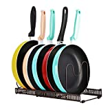 Toplife Expandable Pans Organizer Rack,10 Adjustable Compartments, Pantry Cabinet Bakeware Lid Plate Holder