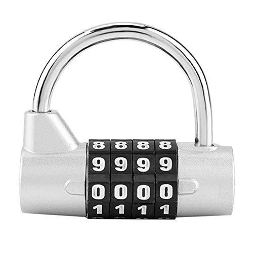 Candado de combinación, Cerradura de seguridad con código de 4 dígitos para el armario, gimnasio, escuela, empleado, maleta de viaje(Silver)