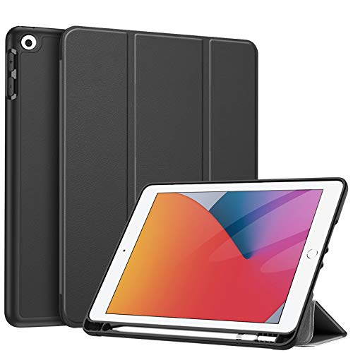 Fintie SlimShell Case for New iPad 8th Gen (2020) / 7th Generation (2019) 10.2 Inch - [Built-in Pencil Holder] Soft TPU Protective Stand Back Cover with Auto Wake/Sleep, Black
