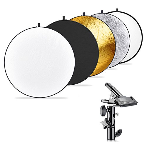 Neewer Photography 5-in-1 Multi-Disc Light Reflector (43 inches/110 Centimeters) with Heavy-Duty Metal Clamp Holder for Photo Studio Shooting,Collapsible Reflector Translucent/Silver/Gold/White/Black
