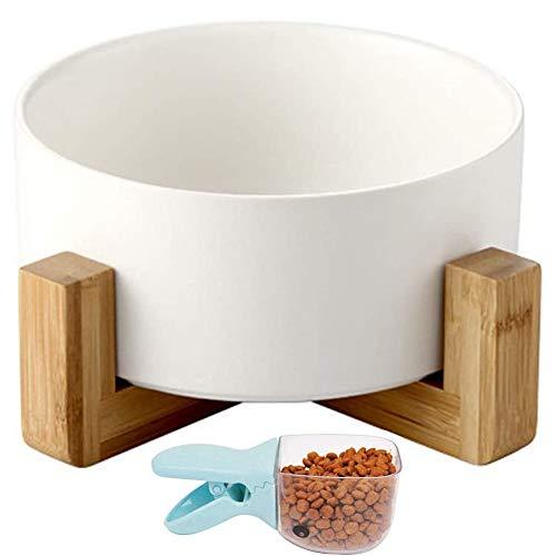 Keramik Hundenäpf mit Massivholz Ständer und Futterschaufel 丨VIKEDI Keramik Katzennäpf丨Keramik Hunde Futternapf mit Bambus Halter丨Keramik Fressnapf Wassernapf, Keramik Futternäpfe für Katze und Hunde