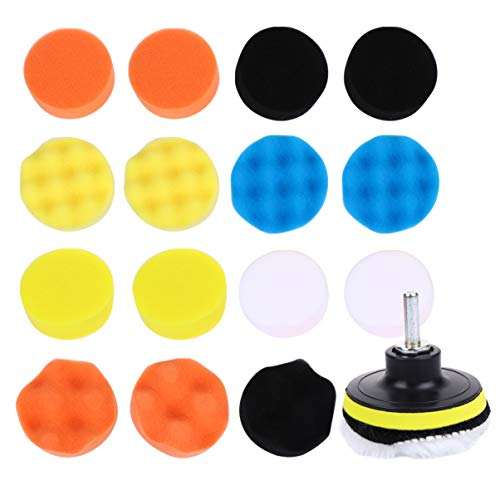 Garneck 22 Pcs Car Polishing Buffing Sponge Pads for Household Electric Drill Auto Polisher for Washing Cleaning Waxing (Assorted Color)