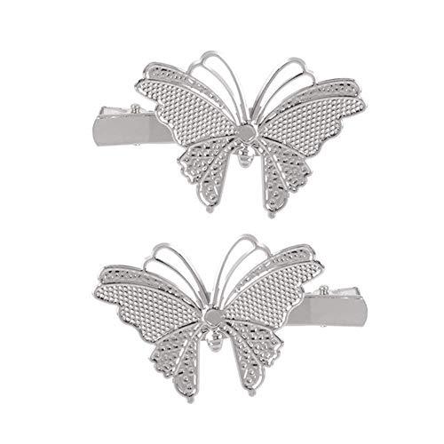 2 Stück Mode Hollow Butterfly Haarspange Pin Haarnadel Kopfbedeckungen Brauthaar Zubehör Schmuck für Frauen und Mädchen (Silber)