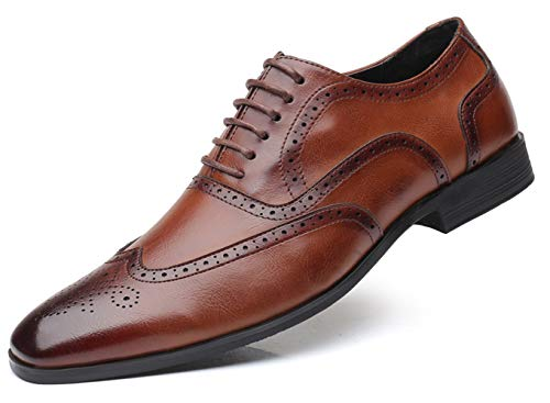 Mens Brogue Oxford, Lace-up Wingtip Dress Shoes,Formal Lace Up Shoes for Men Brown 8 US
