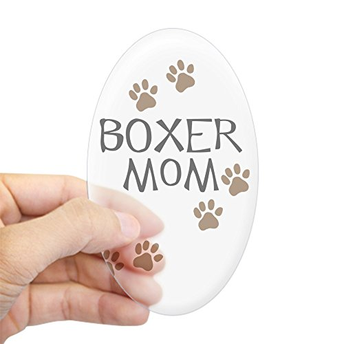 CafePress - Boxer Mom - Oval Bumper Sticker Car Decal