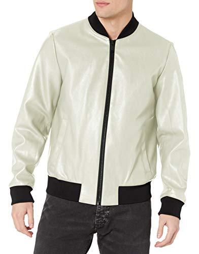 DKNY Herren Faux Leather Bomber Jacket with Embossed Sleeve Kunstleder, Jacke, Ice – Rugged Lamb Kunst-Hülle, Medium
