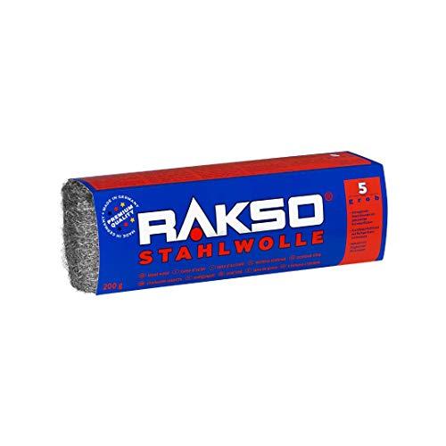 RAKSO Stahlwolle Banderole 200g grob 5 abtragen Beizschlamm v. Holz, entfernt Farbspritzer auf Glas, Flugrost auf Werkzeugen