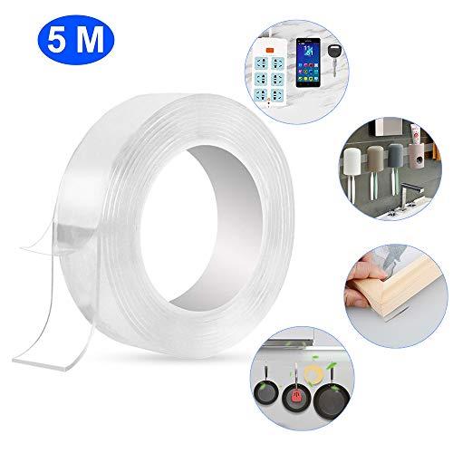 OCEST Herbruikbare Nano plakband, multifunctionele transparante dubbelzijdige niet-traceerbare plakband, wasbare sterke gel anti-slip plakband montagetape voor muur, keuken, tapijt 16,5 ft(5M)