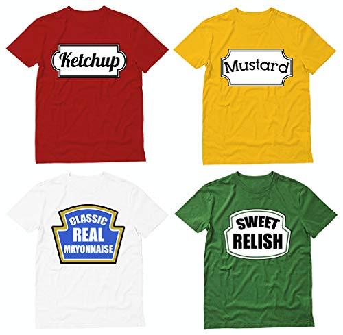 Conjunto de 4 camisetas combinando para fantasia de Halloween Ketchup Mustard Mayonnaise Relish, Ket Red / Amarelo Mus / Mayo White / Verde Rel, Ket S / Mus M / Mayo L / Rel S