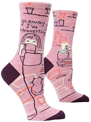 Blue Q Women's Crew Socks ~ Go Away, I'm Introverting. (fit shoe size 5-10)