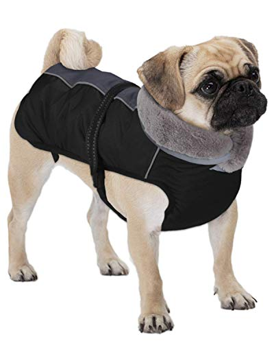 Dociote Hundemantel - reflektierende & wasserdichte Winterjacke mit Bauchschutz Hundejacke Fleece gefüttert Wintermantel für kleine mittelgroße Hunde Grau S
