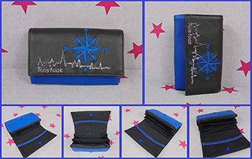 pinkeSterne ☆ Portemonnaie ROSTOCK Skyline Geldbörse Geldbeutel Brieftasche Handmade Kompass Blau