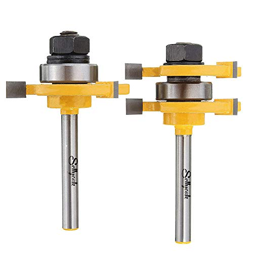 2Pcs Tongue and Groove Router Bit Set 1/4 Shank, SellyOak Tongue Groove Router Bit, 3 Teeth Adjustable T Shape for Doors, Drawers, Shelves & More