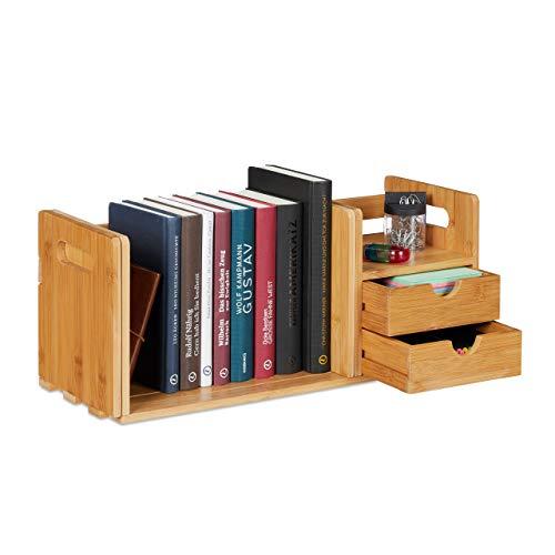 Relaxdays Schreibtisch Organizer Bambus, 2 Schubladen, Bücherregal ausziehbar, Ablage, HxBxT: 21 x 80,5 x 19 cm, Natur