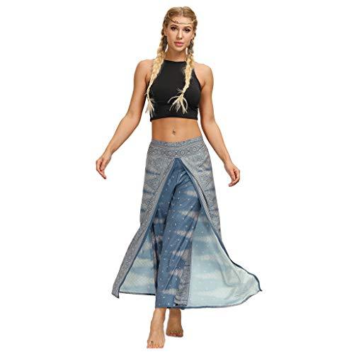 Dasongff Pantalones bombachos para mujer, corte holgado, estilo hippy, pantalones de yoga, faldas, pantalones de verano, pantalones de yoga azul L