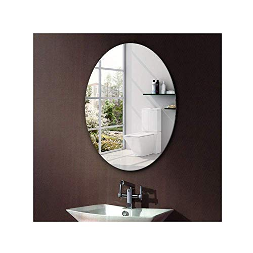 Taschen- und Armbanduhr Ovaler Badezimmerspiegel Rahmenlose Paste Kosmetikspiegel zur Wandmontage Kosmetikspiegel aus Glas HD-Spiegel Kann angebracht Werden/Zubehör senden (Farbe: Silber, Größe: 40x