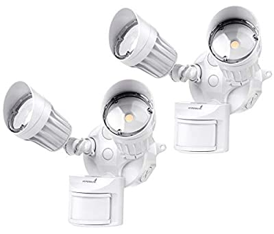 Hyperikon LED Security Light with Motion Sensor, 2 Head Dusk to Dawn, 20W, UL Listed, 2 Pack, White