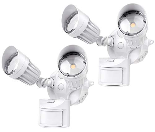 Hyperikon LED Security Light with Motion Sensor, 2 Head Dusk to Dawn, 20W, UL Listed, 2 Pack, White