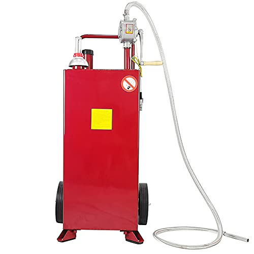 Parts-Diyer 30 Gallon Gas Caddy Fuel Tank Gasoline Can Container Storage Diesel Fuel Transfer with Pump, 2 Wheels