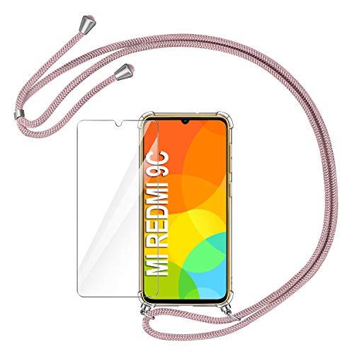 AROYI Funda con Cuerda Compatible con Xiaomi Redmi 9C y Protector Pantalla, Carcasa Transparente TPU Silicona Case con Colgante Ajustable Cordón Compatible con Xiaomi Redmi 9C, Oro Rosa
