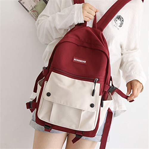Neaer Rucksack japanische Arbeitskleidung Damen Rucksack für Mädchen getäfelte Mittelhohe Schultaschen für Teenager Wasserdicht Frauen Rucksack Luxus Schultasche (Farbe: Rot)