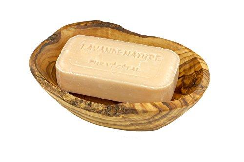 D.O.M. Die Olivenholz Manufaktur D.O.M. Porte-Savon Rustique en Bois d'olivier avec Savon végétal Fait à la Main Lavande