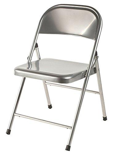 Mod-22 Silla plegable metálica color aluminio para salón, comedor, cocina, estudio, escritorio, despacho, dormitorio, balcón, terraza interior, habitación juvenil, dormitorio . Pack 6 unidades