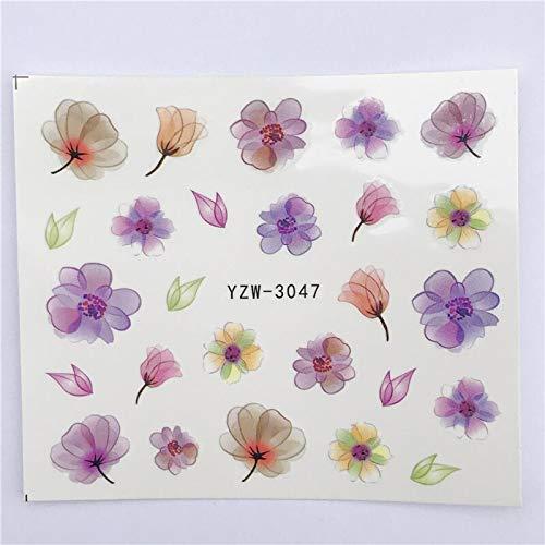 MEIYY Nagel Sticker 1 Vellen Nieuwe Nagel Art Stickers Letter/Veer/Gekleurde Bloem Water Transfer Wraps Folies Patchdecoratie Gereedschap 3047