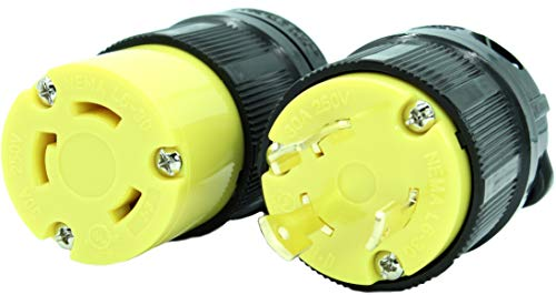 Journeyman-Pro NEMA L6-30 Plug & Connector Set, NEMA L6-30R & L6-30P, 30A, 250V, Locking Plug Socket, Black Industrial Grade, Grounding 7500 Watts Generators (L6-30PR Plug Set)